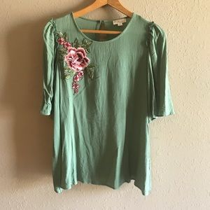 sage green boutique blouse w/ floral embroidery